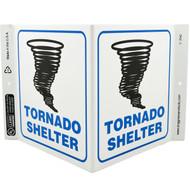 Tornado Shelter Wall-Projecting V-Sign w/ Tornado Icon