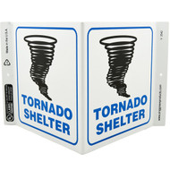Picture of the Tornado Shelter Wall-Projecting V-Sign w/ Tornado Icon.