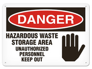 A photograph of a 01632 danger, hazardous waste storage area unauthorized personnel keep out OSHA sign with hand graphic.