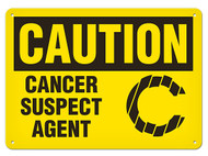 CAUTION Cancer Suspect Agent OSHA Signs w/ Carcinogen Icon