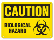 A photograph of a 01623 caution biological hazard sign with biohazard icon.