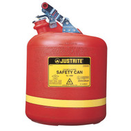 A photograph of a red polyethylene 02116 Justrite type I safety can, with 5 gallon capacity.