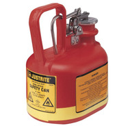A photograph of a red polyethylene 02122 Justrite type I oval safety can, with 0.5 gallon capacity.