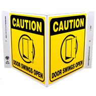 Caution Door Swings Open Wall-Projecting V-Sign w/ Door Icon