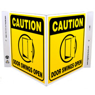 Picture of the Caution Door Swings Open Wall-Projecting V-Sign w/ Door Icon.