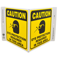 Caution Eye Protection Required In This Area Wall-Projecting V-Sign w/ Icon