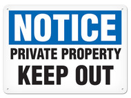 A photograph of a 01654 notice private property keep out OSHA sign.