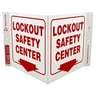 Lockout Safety Center Wall-Projecting V-Sign w/ Down Arrow