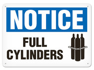 A photograph of a 01574 notice full cylinders OSHA sign with chained cylinders icon.