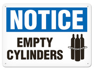 A photograph of a 01573 notice empty cylinders OSHA sign with chained cylinders icon.