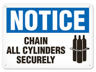 A photograph of a 01730 notice chain all cylinders securely OSHA sign with chained cylinders icon.