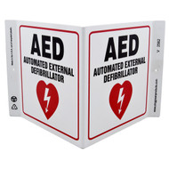 AED Automated External Defibrillator Wall-Projecting V-Sign w/ Heart Icon
