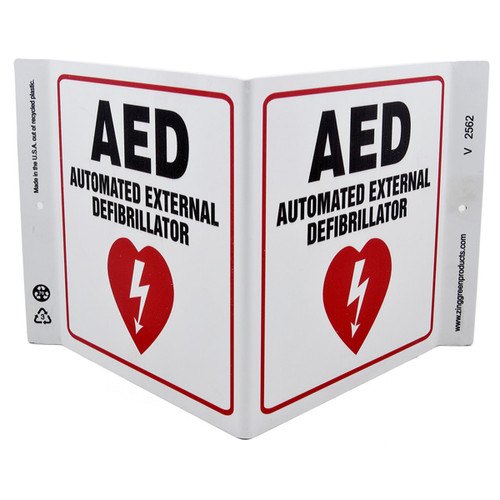 Picture of the AED Automated External Defibrillator Wall-Projecting V-Sign w/ Heart Icon.