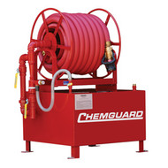 A photograph of a red 50202 Chemguard fixed hose reel foam station, available in 36 and 60 gallon sizes.