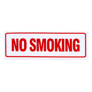 """A photograph of a self-adhesive vinyl 01579 no smoking sign, with dimensions 12"""" w x 4"""" h."""