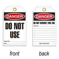 A photograph of front and back of a 07086 tag, reading danger do not use, with 25 per package.