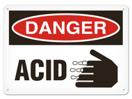 A photograph of a 01553 danger, acid OSHA sign with corrosive icon.