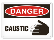 DANGER, Caustic OSHA Signs w/ Corrosive Icon