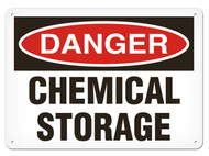 A photograph of a 01555 danger, chemical storage OSHA sign.