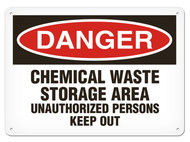 A photograph of a 01556 danger, chemical waste storage area unauthorized persons keep out OSHA sign.