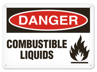 DANGER, Combustible Liquids OSHA Signs w/ Flame Icon