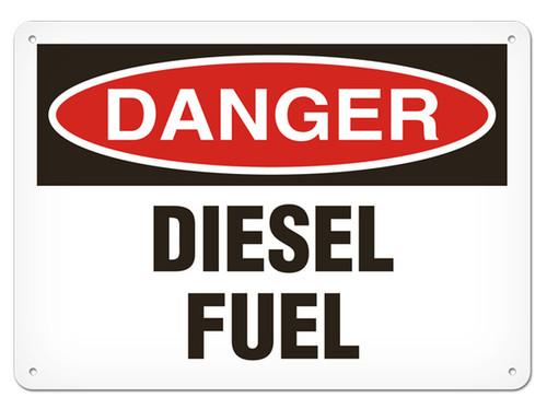 A photograph of a 01558 danger, diesel fuel OSHA sign.