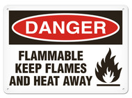 DANGER, Flammable Keep Flames And Heat Away OSHA Signs w/ Flame Icon