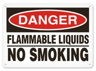 A photograph of a 01560 danger, flammable liquids no smoking OSHA sign.