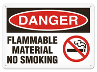 A photograph of a 01562 danger, flammable material no smoking OSHA sign with no smoking icon.