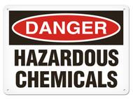A photograph of a 01565 danger, hazardous chemicals OSHA sign.