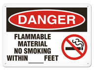 A photograph of a 01563 danger, flammable material no smoking within __ feet OSHA sign with no smoking icon.