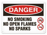A photograph of a 01564 danger, no smoking no open flames no sparks OSHA sign with no smoking and no flame icons.