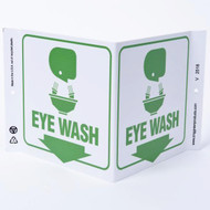 Photograph of the Eye Wash Wall-Projecting V-Sign w/ Graphics.