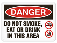 A photograph of a 01566 danger, do not smoke, eat or drink in this area OSHA sign with no smoking and no flame icons.