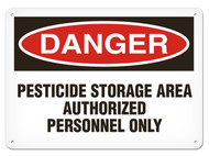 A photograph of a 01568 danger, pesticide storage area authorized personnel only OSHA sign.