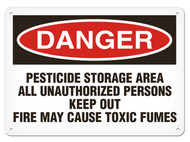A photograph of a 01570 danger, pesticide storage area all unauthorized persons keep out fire may cause toxic fumes OSHA sign.
