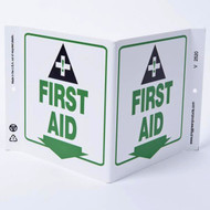 First Aid Wall-Projecting V-Sign w/ Icon and Down Arrow