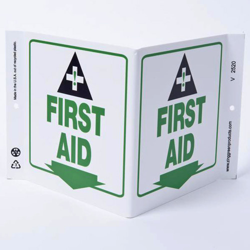 A photograph of a 00264 first aid wall-projecting v-sign w/ icon and down arrow.