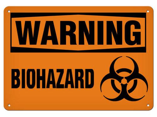 A photograph of a 01576 warning biohazard OSHA sign wit biohazard symbol.