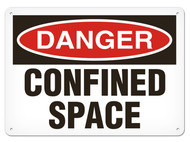 A photograph of a 01703 danger, confined space OSHA sign.