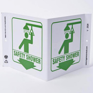 Safety Shower Wall-Projecting V-Sign w/ Graphics and Down Arrow