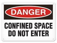 A photograph of a 01704 danger, confined space do not enter OSHA sign.