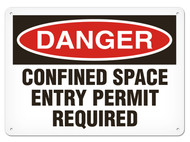 A photograph of a 01705 danger, confined space entry permit required OSHA sign.