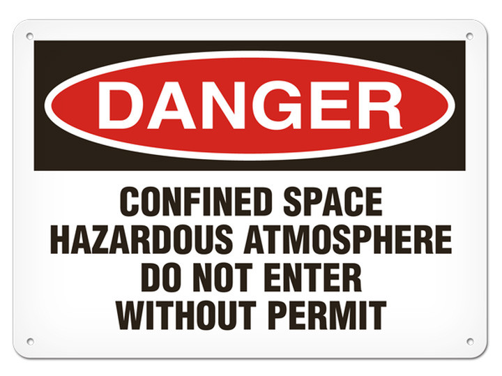 DANGER, Confined Space Hazardous Atmosphere Do Not Enter Without Permit  OSHA Signs