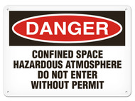 A photograph of a 01707 danger, confined space hazardous atmosphere do not enter without permit OSHA sign.