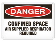 A photograph of a 01708 danger, confined space air supplied respirator required OSHA sign.