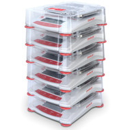 Photograph of 6 Stacking Cover Kits For Ohaus Scout® Balances, left facing, containing balances (not included).
