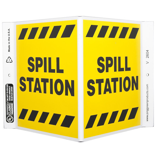 Photograph of the Spill Station Wall-Projecting V-Sign.