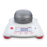 Photograph of Ohaus Scout® SPX Balance with draft shield closed, front facing.