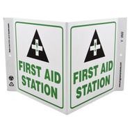 Photograph of the First Aid Station Wall-Projecting V-Sign w/ Icon.